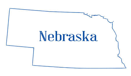 Outline of the US state of Nebraska over a white background