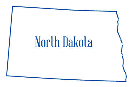Outline map of the state of North Dakota isolated Stock Photo