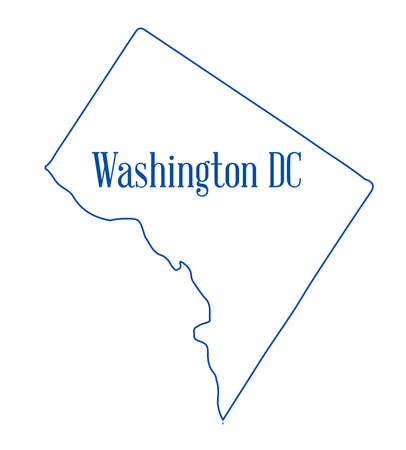 Outline map of the state of Washington DC over a white background Stock Photo