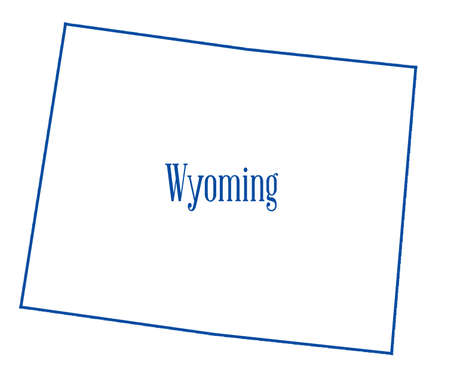 Outline map of the state of Wyoming isolated