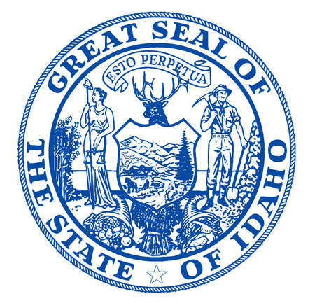The state seal of the USA state of Idaho over a white background