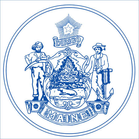 Maine state seal over a white background 写真素材