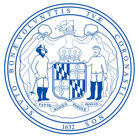 The seal of the state of Mayland over a white background
