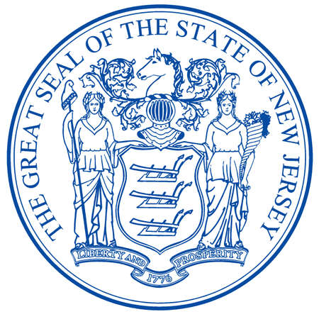 The great seal of the state of New Jersey isolated on a white background Stock fotó