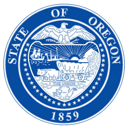 An illustration of the state of Oregon state seal over a white background