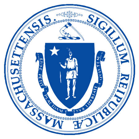The State Seal of Massachusetts on a white background