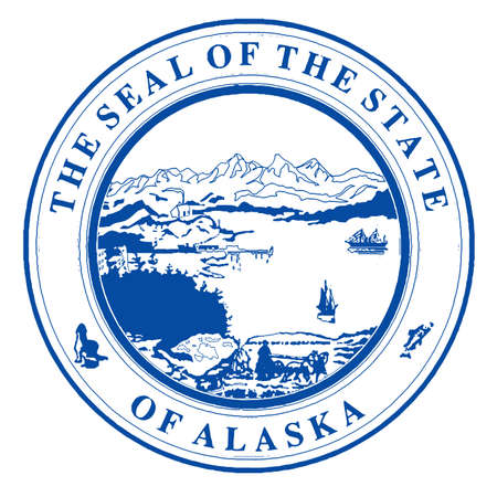 Seal of Alaska over a white background