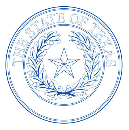The seal of the United Steas of American state TEXAS isolated on a white background.
