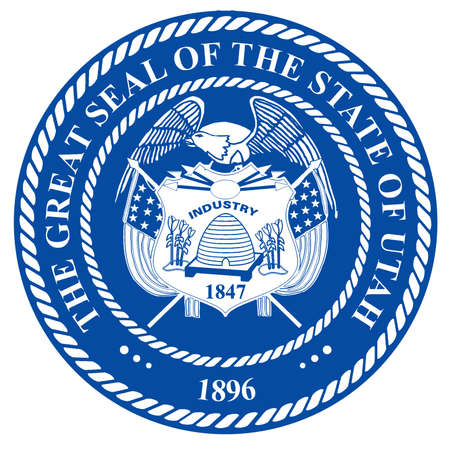 The seal of the American state of Utah over a white background Stock Photo