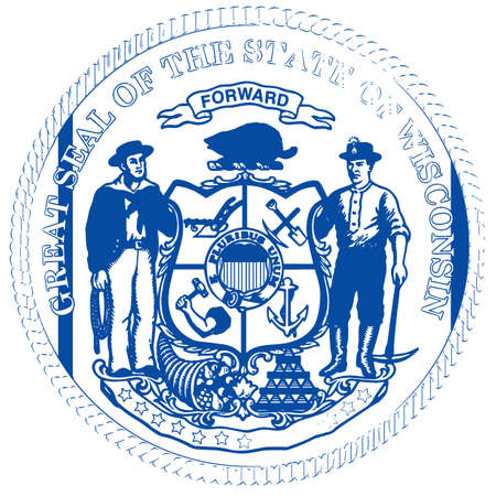 The seal of the state of Wisconsin over a white background Stock Photo