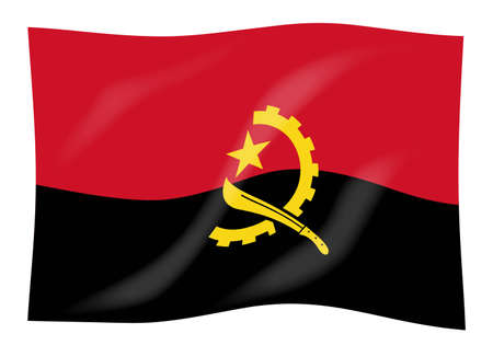 The flag of the African country of Angola Stock Photo