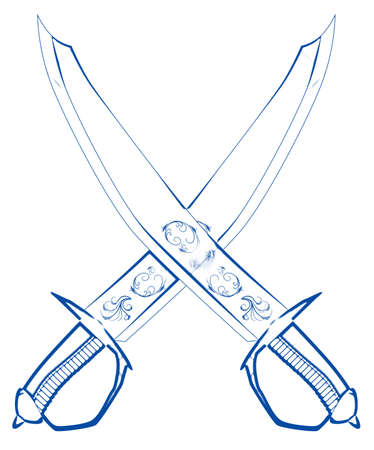 Two typical pirate cutlases in blue outline isolated on a white background Stock Photo