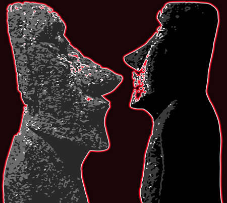 Stone heads as found on Easter Island isolated over a dark background Standard-Bild - 111334025