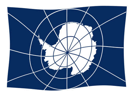 The flag accepted as the Flag of Antarctica showing the outline map of the continent as accepted by the international treaty