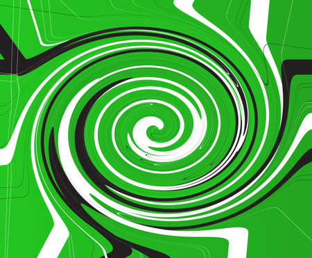 A green background with black and white criss cross items in a vortex twirl