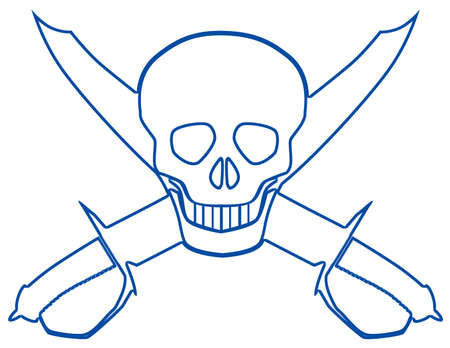A skull over two crossed cutlasses on a white background