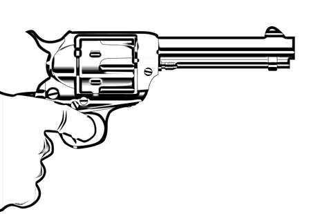 A revolver pistol being held in outline drawing