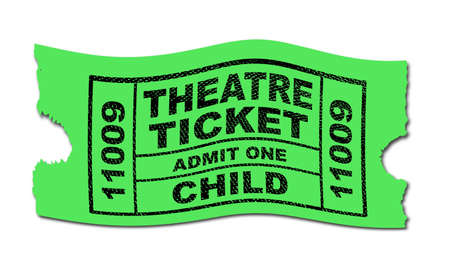 A green child theatre ticket to admit one isolated on a white background