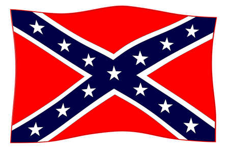 A waving flag of the confederates during the American Civil War