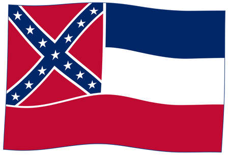 The flag of the USA state of Mississippi waving