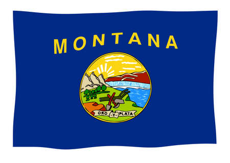 The state flag of the USA state of Montana waving in the wind