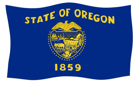 An illustration of the state of Oregon state flag waving