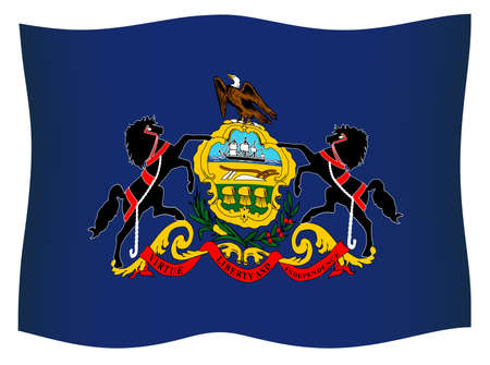 State flag of the USA state of Pennsylvania waving in wind