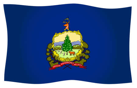The flag of the United States state of Vermont Waving