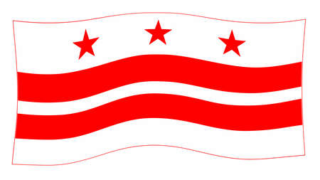 The Washington DC State Flag in red and white waving