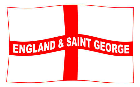 The flag of England and Saint George with text waving