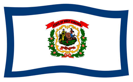 The state flag of the USA state of West Virginia blowing in wind