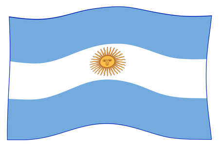 Flag of the South American country of Argentina waving in the wind
