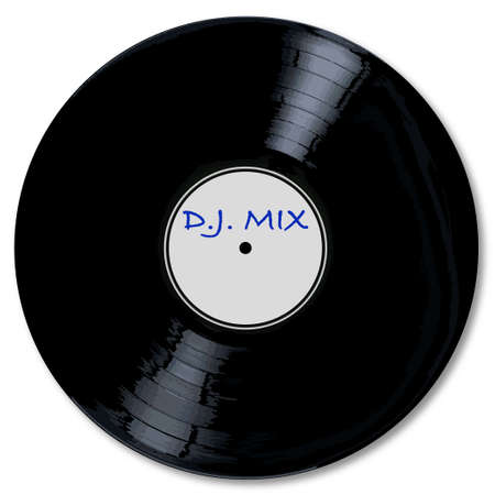 A typical LP vinyl record DJ mix with a white labell over a white background.