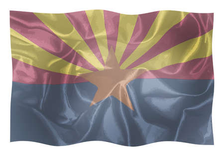 The state flag of the  State of Arizona waving in the wind