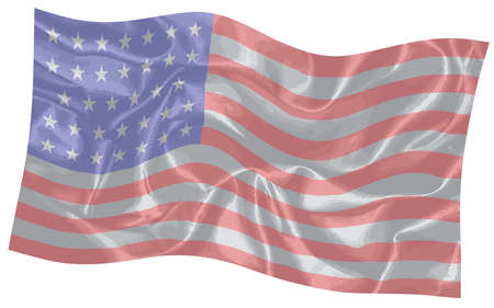 The Stars and Stripes of the American flag fluttering in the wind
