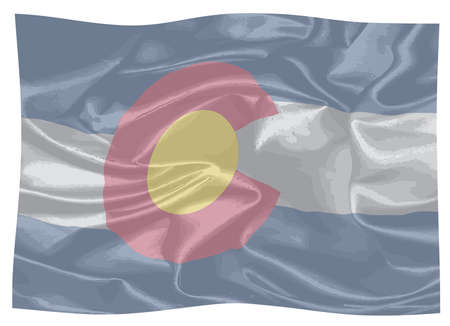 The United States of American state flat of colorado fluttering in the wind