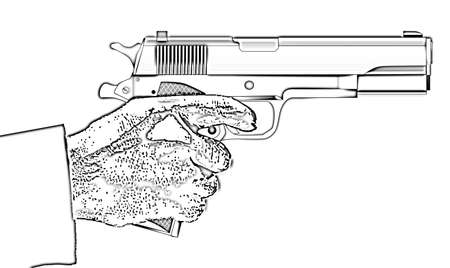 A typical 45 automatic hand gun with hand