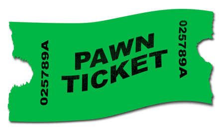 A green pawn ticket over a white background