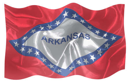 The state flag of the USA state of Arkansas waving in the wind