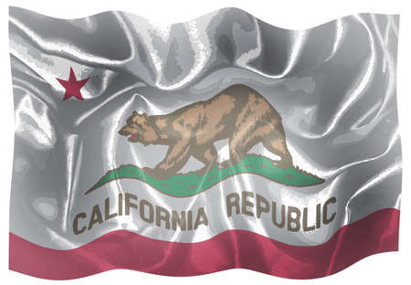 The flag of the USA state of California waving in the wind