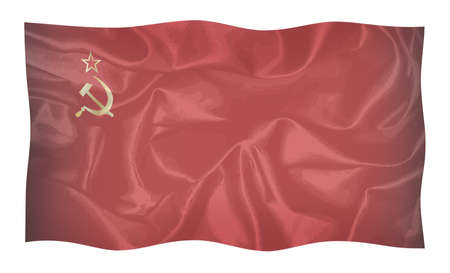 Hammer and Sickle set on a USSR silk flag faded with reds and black waving in the breeze