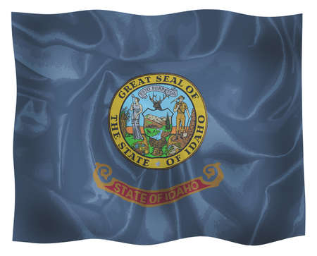 The state flag of the USA state of Idaho fluttering