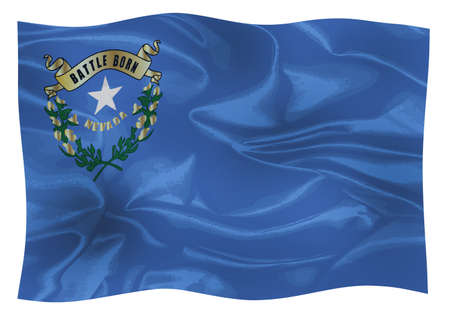 The flag of the American state of Nevada waving in the wind