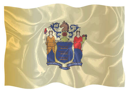 The flag of the state of New Jersey waving in the wind and isolated on a white background
