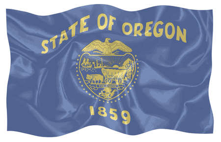 An illustration of the state of Oregon state flag fluttering in the wind 写真素材