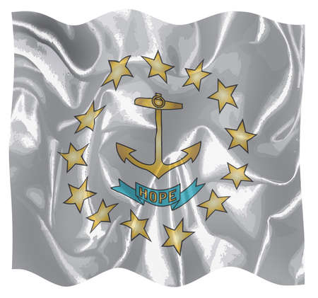 The flag of the USA state Rhode Island fluttering in the wind