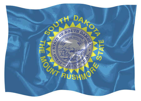 The flag of the state of South Dakota waving in the wind