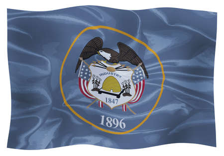The flag of the American state of Utah blowing in the wind 版權商用圖片 - 112391708