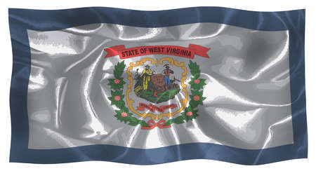 The state flag of the USA state of West Virginia fluttering in the wind