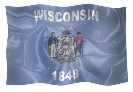 The state flag of the USA state of Wisconsin waving in the wind Stock Photo
